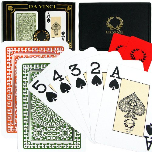 Da Vinci Italian Plastic Playing Cards, 2-Deck Set Poker Size Jumbo Index, with Hard Shell Case and 2 Cut Cards