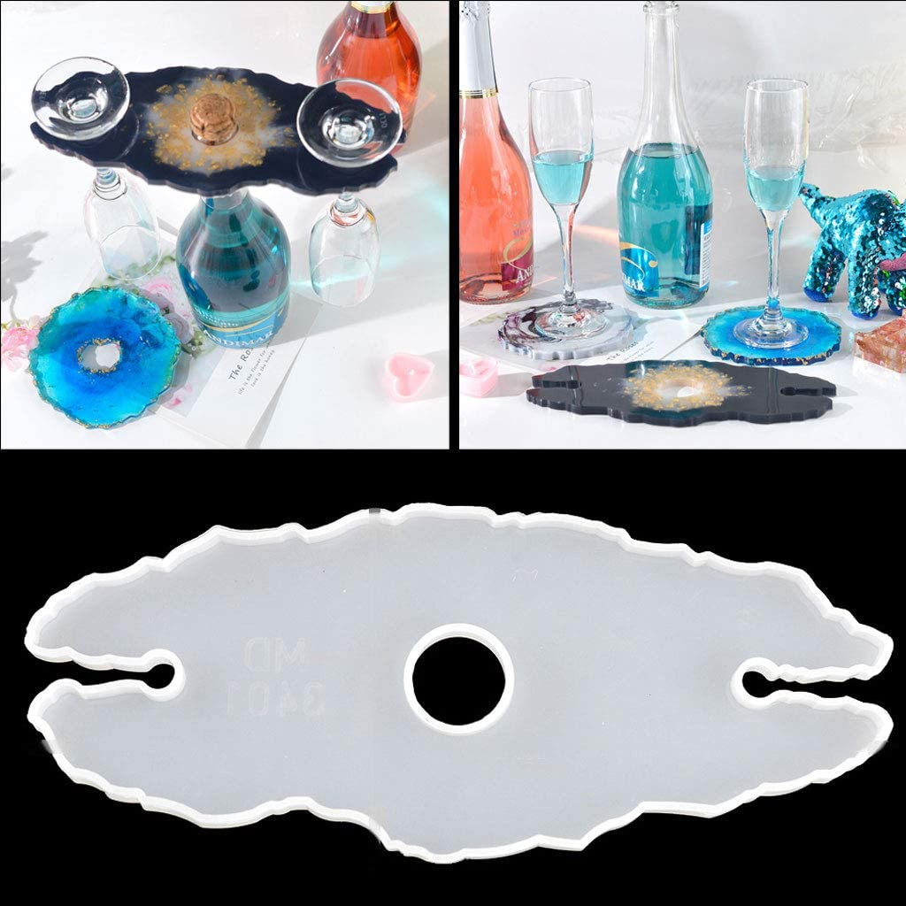 Silicone Mold DIY Epoxy Resin Casting Mould Irregular Tray Wine Glass Holder