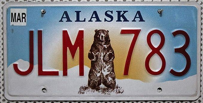 Us Nummernschild Alaska Kennzeichen BÄr Grizzly Motiv Blechschild Usa Amazon De