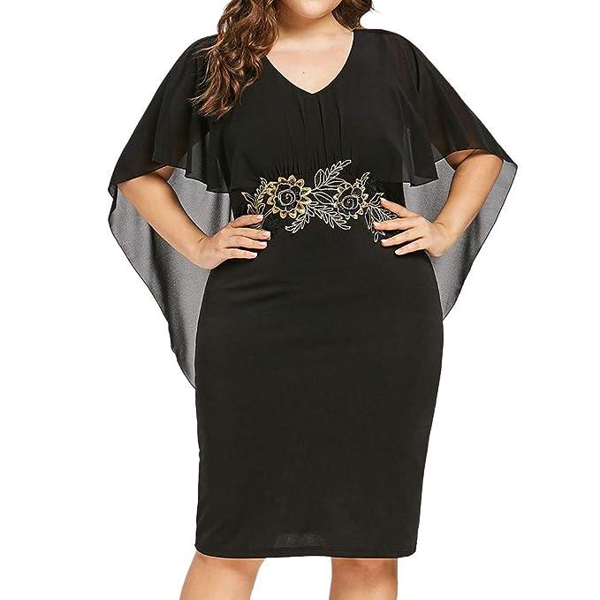 Amazon.com: Women Plus Size Dress,BCDshop Fashion Chiffon V ...