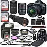 Canon EOS 5D Mark IV Full Frame Digital SLR Camera with EF 24-105mm f/4 L2 IS USM Lens + EF 75-300mm f/4-5.6 III + 500mm Telephoto Zoom + 2pc SanDisk 32GB Memory Cards + Accessories (20 Items)