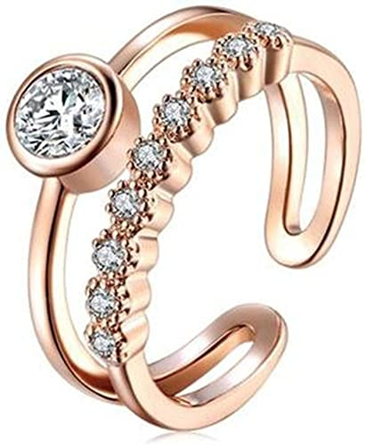 Dividiamonds Adjustable Open Ring Cubic Zirconia 14k Rose Gold Plated Double Lines Ring for Women