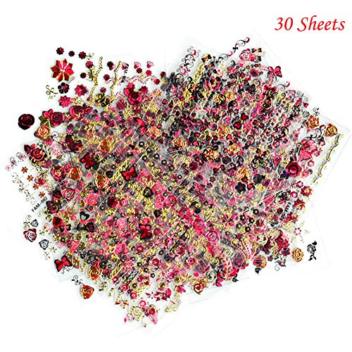 3D Nail Stickers for Women Nail Art Supplies Self-Adhesive Nail Decals Tattoo Red Gold Rose Butterfly Line Nail Art Stickers Natural Acrylic Finger Nail Decorations Accessories (30 Sheets) ()