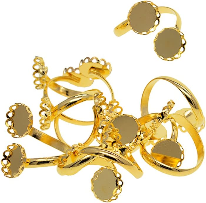 Gold 10 Pieces Vintage Adjustable Brass Ring Setting Two Blank Ring Bezel Base Jewelry Making Supplies as described