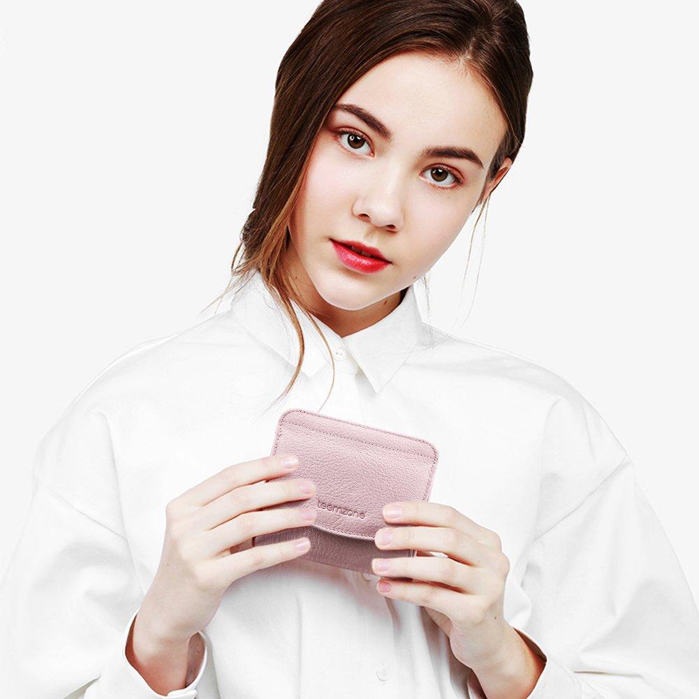 Portemonnaie-Leder-Damen-RFID Schutz-mit-Münzfach-Mini Geldbörse-Portmonee-Brieftasche (Rosa Weiss)