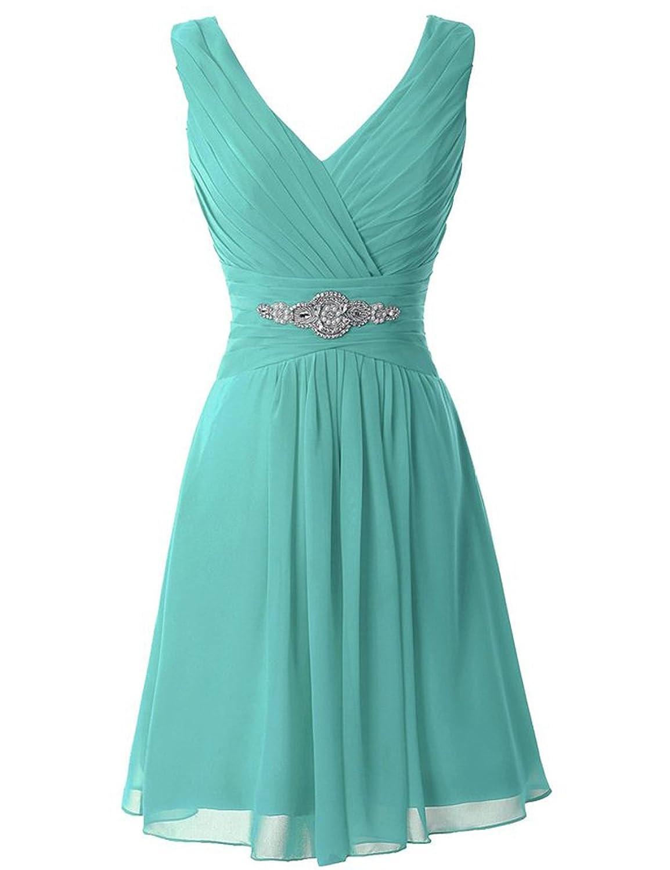 Manfei Women\'s V-Neck Chiffon Short Bridesmaid Dress Party Dress at ...