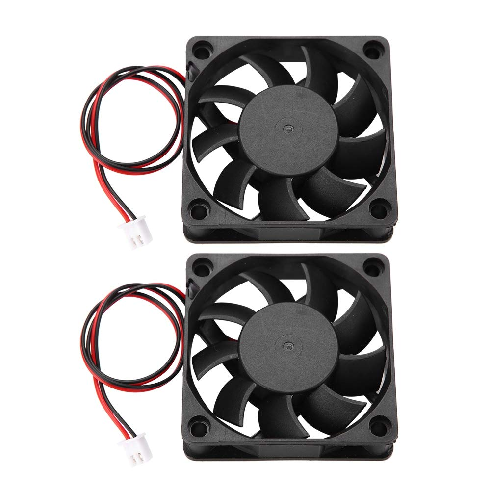 ASHATA Cooling Fan for 3D printer, 60 * 60 * 15mm 3D Cooling Fan, 0.19A 12V 2500-6000 RPM 13CFM High-speed Cooling Fan 3D Printer Parts (2 Packs)