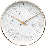 """Luxury Modern 12"""" Silent Non-Ticking Wall Clock with Rose Gold Frame (Marble White)"""