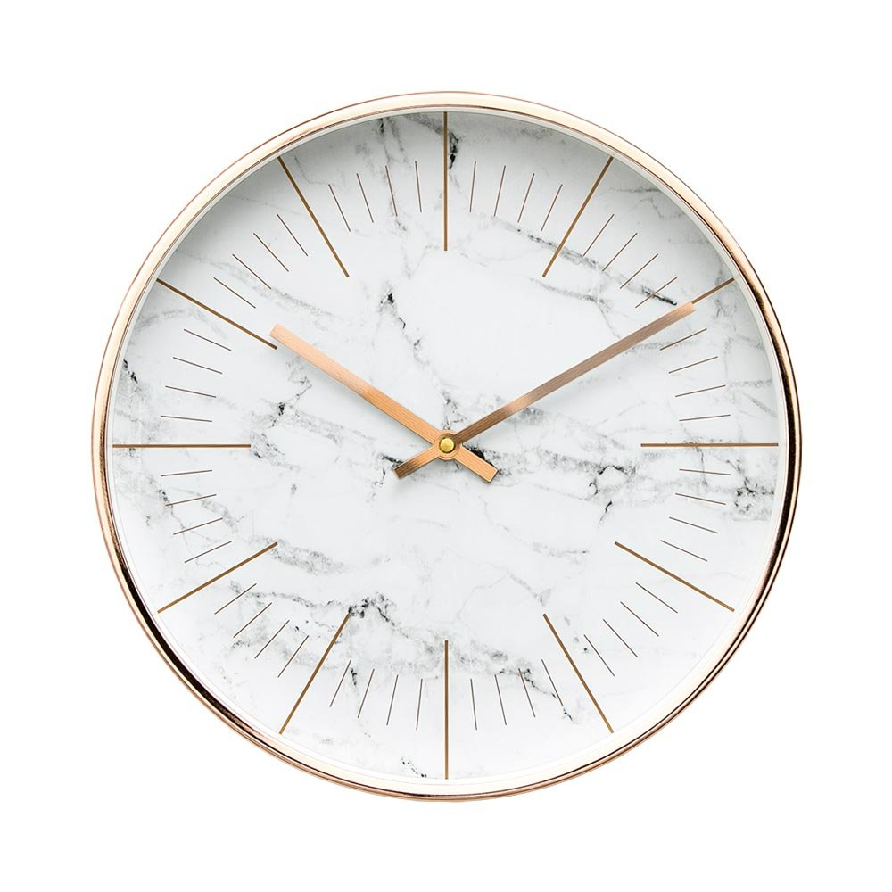 Arospa Luxury Modern 12 Silent Non-Ticking Wall Clock with Rose Gold Frame (Marble White) 12rose gold frame