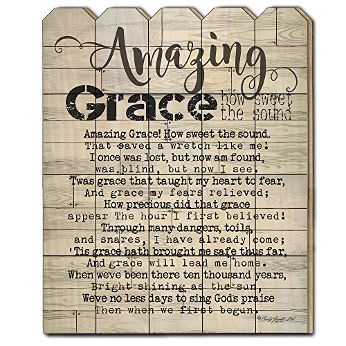 Trendy Decor4U Amazing Grace by Cindy Jacobs, Printed Wall Art on a Wood Picket Fence, (Picket Fence Wall Decor)