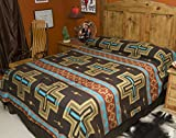 Mission Del Rey's Southwest Bedding Cochiti Cross Collection -Reversible Bedspread (Twin 68x96, Brown)