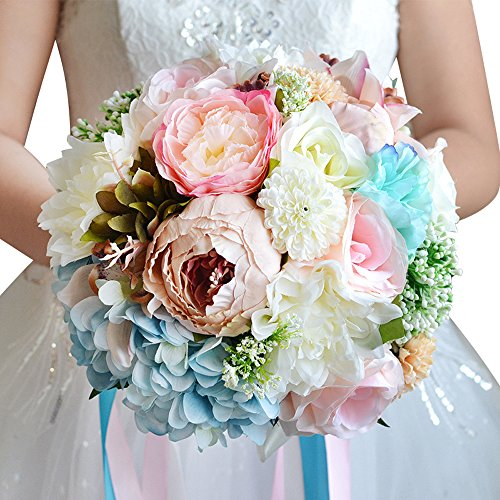 Moleya 9 Inch Handmade Vintage Artificial Silk Roses Wedding Bouquet for Bridal Bridesmaid Holding Flower, Pink+Blue Flower