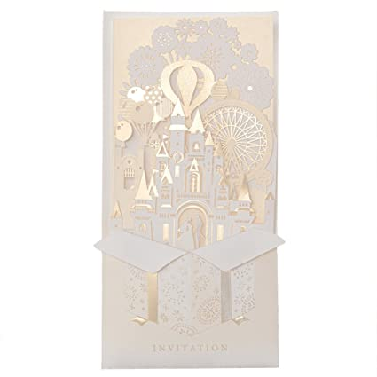wishmade 3d design elegant gold laser cut wedding invitations cards bridal shower invitations greeting cards cw5093