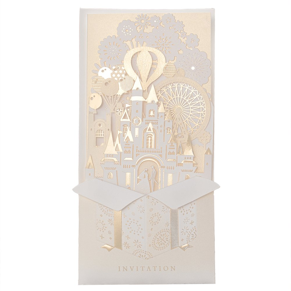 12X Wishmade 3D Elegant Gold Laser Cut Invitations Cards For Wedding Bridal Shower Engagement Party CW5093