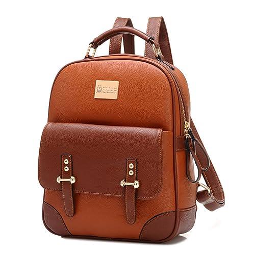 035fa1015c INAEONG Donne Retro Elegante Litchi Profilo Contrasto Colore Zaini Marrone:  Amazon.it: Scarpe e borse