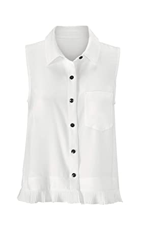b2f2d9e8573412 CAbi White Pleat Blouse at Amazon Women's Clothing store: