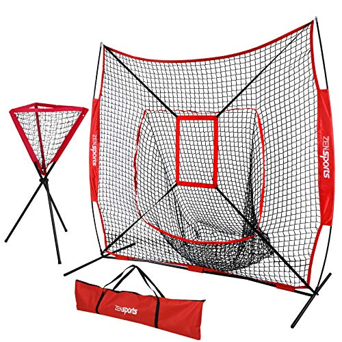 (ZENsports 7' x 7' Baseball Softball Practice Hitting Pitching Net with Strike Zone Target and Bow Frame + Ball Caddy,Carry Bag,Great for All Skill Levels)