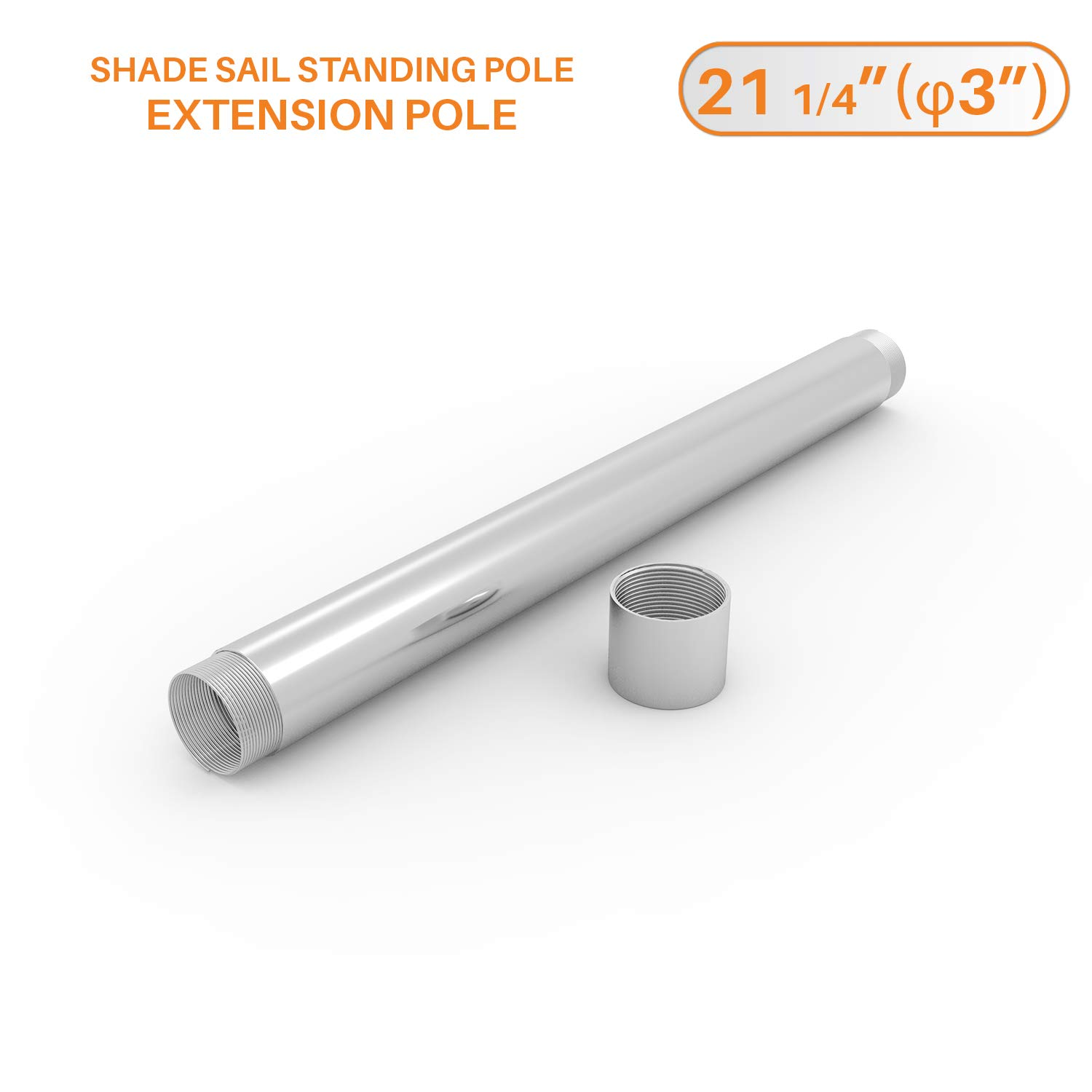 TANG 21-1/4''Extension Pole for 96'' (8'Ft.) Sun Shade Sail Pole Heavy Duty Steel Fence Post Coupling Connector Metal Stand Canopy Awning Sail Pole Post by TANG