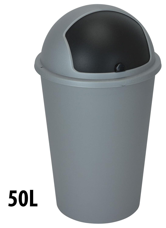 Y54201090 - 50 Litre GREY Dome Recycling Waste Bin Plastic Disposal ...