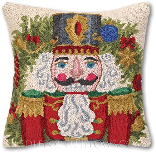 NeedlepointPillows.com Nutcracker Christmas Pillow: 100% Wool Handmade, Hand-Crafted Holiday Hooked Holiday Steinbach Winter Christmas Nutcracker Throw Pillow. 18