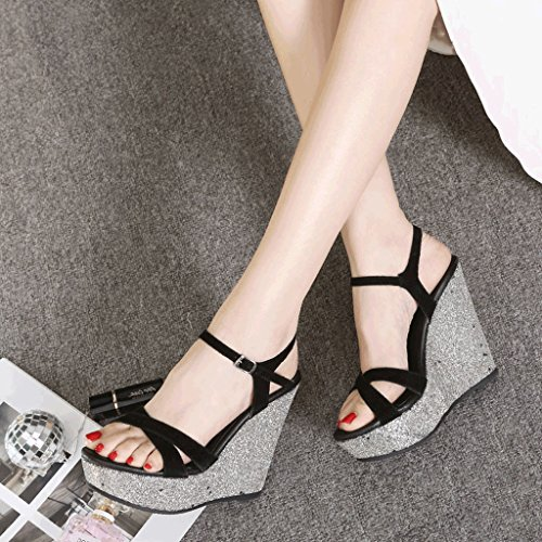 Sexy Sandales Talons De Coin De La Plate-forme De Plate-forme Des Femmes Slingbacks Chaussures De Banquet (couleur: Vert 12cm, Taille: 33) 9cm Noir