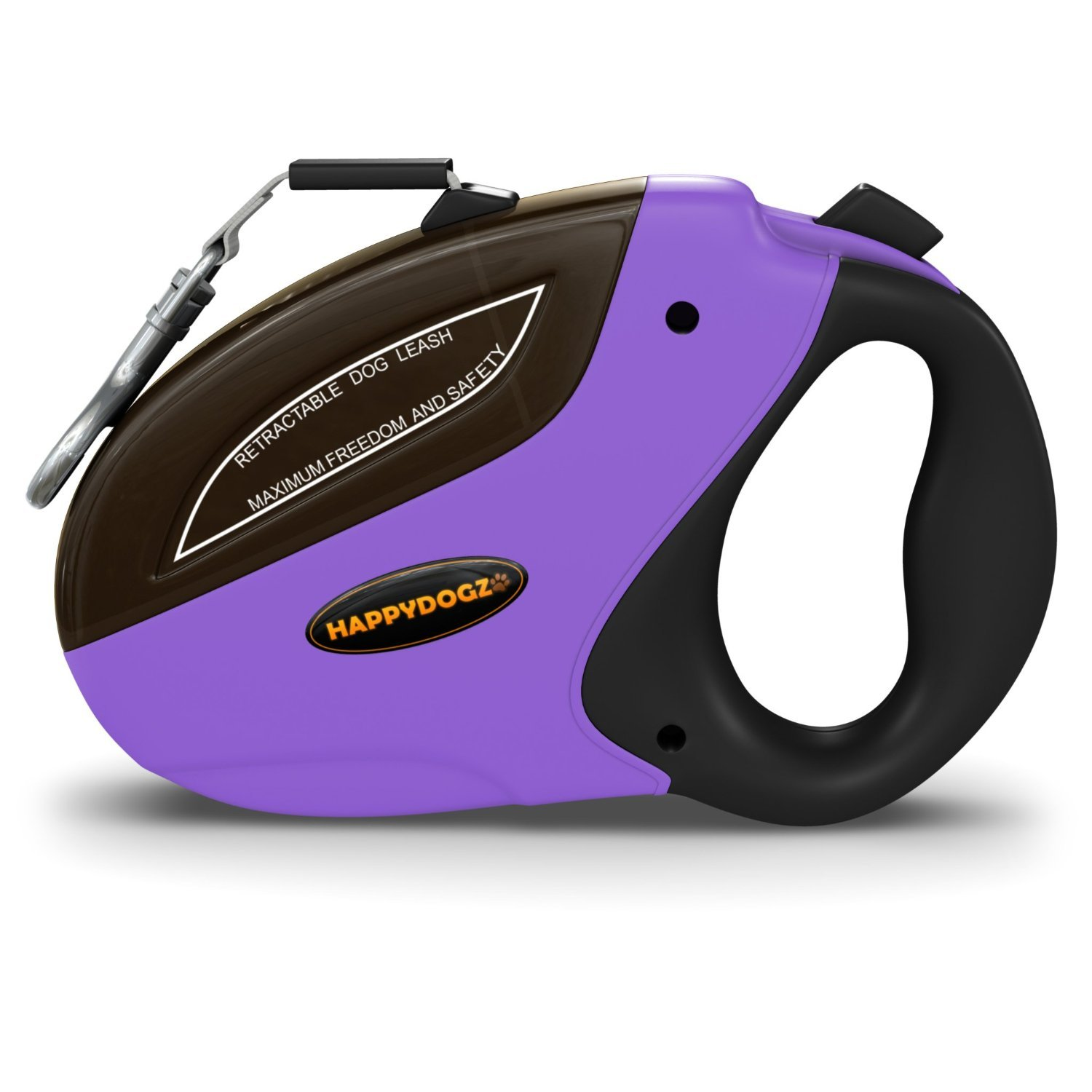 Security Pro Retractable Dog Leash a 16 Foot Long Heavy Duty No Tangle Pet Lead with Instant Retraction for Small to Large Dogs, Purple