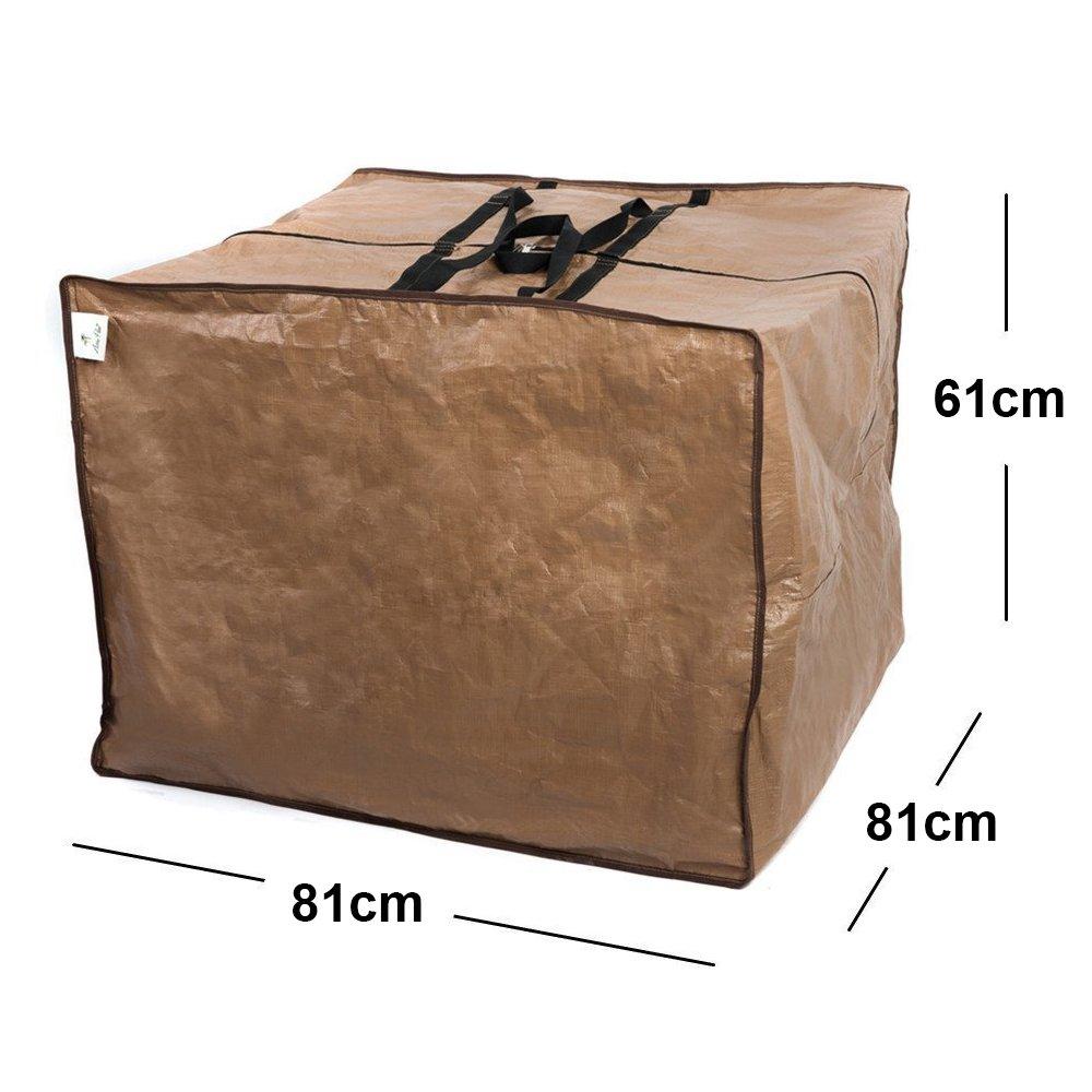Abba Patio Copertura Protettiva Impermeabile per Cuscini di Sdraio o divani, con Borsa di Protezione con Cerniera, Misure 82 x 82 x 61 cm, Colore Marrone