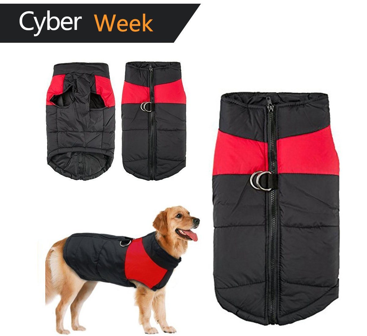 Dog Winter Coat Vest, Waterproof Clothes Jacket Fleece Warm Lined Breastplate Puffer Dog Puppy Clothes Vest for Autumn Winter (XXXL (Back:19.58inch Chest 22.22inch), Red)