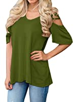 LILBETTER Women's V Neck T Shirts Casual Loose Hollow Out Shoulder Blouses