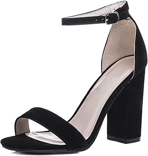 Womens Open Peep Toe Mid Heel Sandals Shoes