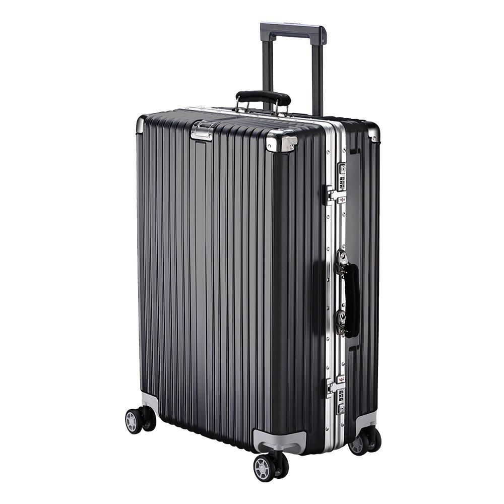 XZY スーツケース キャリーケース 無段階調節 TSAロック搭載 8輪360度 荷崩れを防ぐ Sサイズが機内持ち可 B077YP6WMK M|ブラック ブラック M