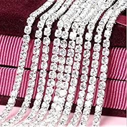 Honbay 10 Yard Crystal Rhinestone Close Chain Trim Sewing Craft 2.5mm Silver color (clear)