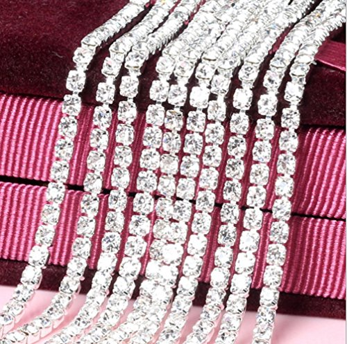 Honbay 10 Yard Crystal Rhinestone Close Chain Trim Sewing Craft 2.5mm Silver color (clear) Beaded Ribbon