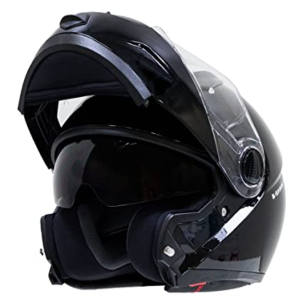 Voss 555 Modular Helmet with Integrated Sun Lens DOT - XS - Gloss Black