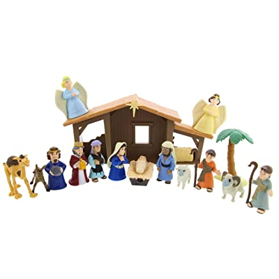 BibleToys Tales of Glory Nativity Set For Kids – Premium Christmas Nativity Set with Interactive Speaking Mary – Great for Children, Sunday School and Holiday Decorations – 17 Pieces: Toys & Games