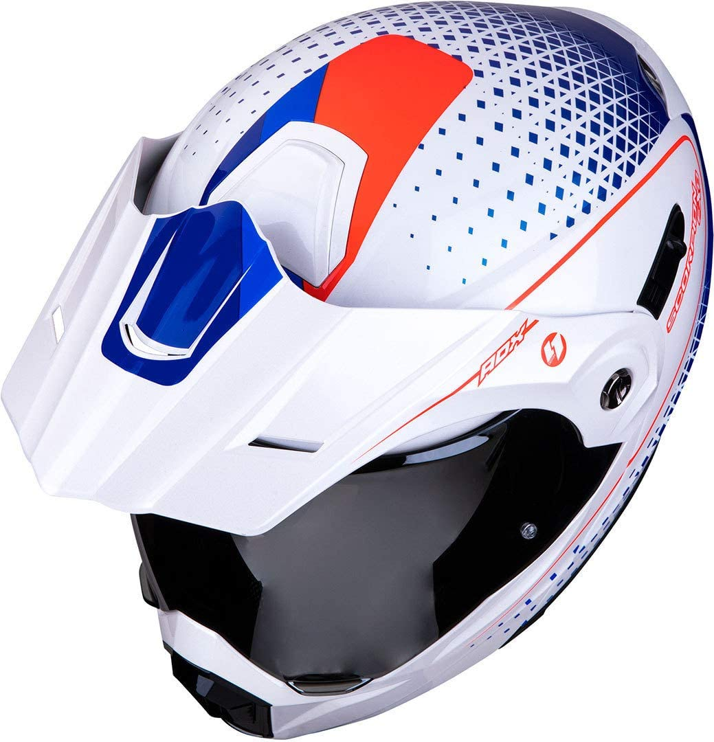 L Blanc//Bleu//Rouge Motorcycle helmets Scorpion ADX-1 HORIZON Pearl white-Red-Blue