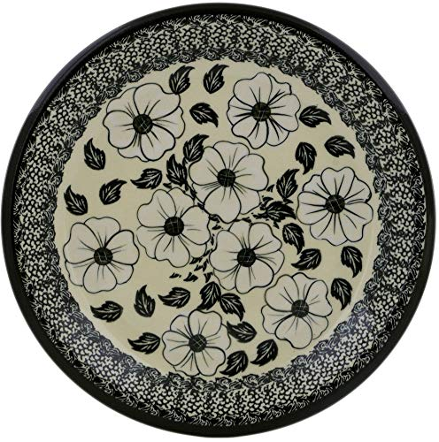 Polish Pottery 10¼-inch Lunch Plate (Midnight Flowers Theme) + Certificate of Authenticity