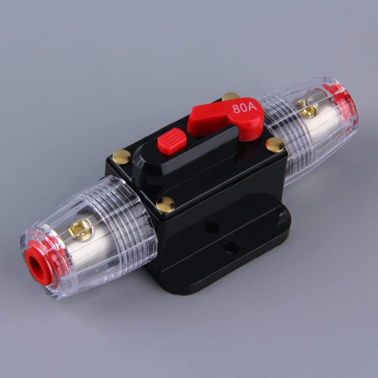 Syst/ème de Protection Audio de Voiture Professionnelle Disjoncteur de 100//80 A Commutateur de r/éinitialisation Manuelle Porte-fusible AGU Installation Facile