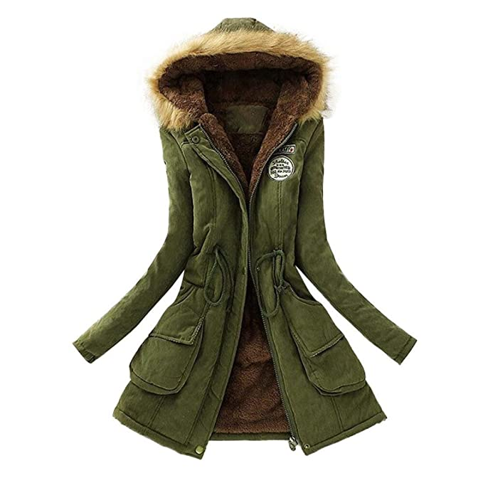 8dea20697 Gillberry Womens Warm Fur Collar Long Coat Hooded Slim Winter Parka Outwear  Jacket