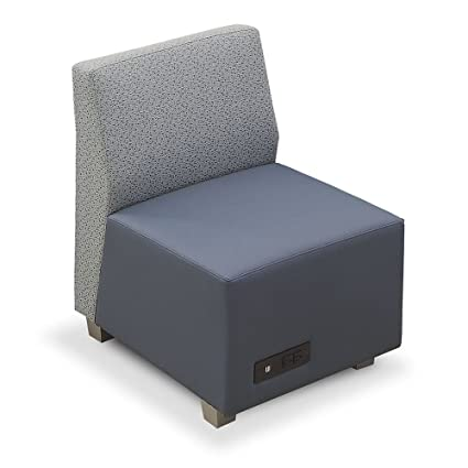 Compass Armless Lounge Chair Silver Fabric Back/Williamsburg Polyurethane  Seat/Silver Legs Dimensions: