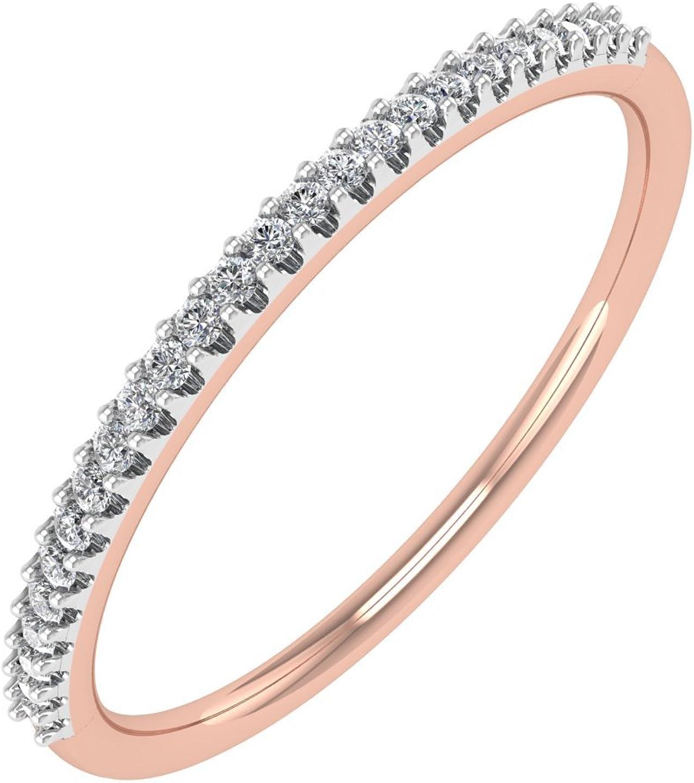 0.07 carat 14K Gold Round Diamond Ladies Anniversary/Wedding stackable Band Ring - IGI Certified