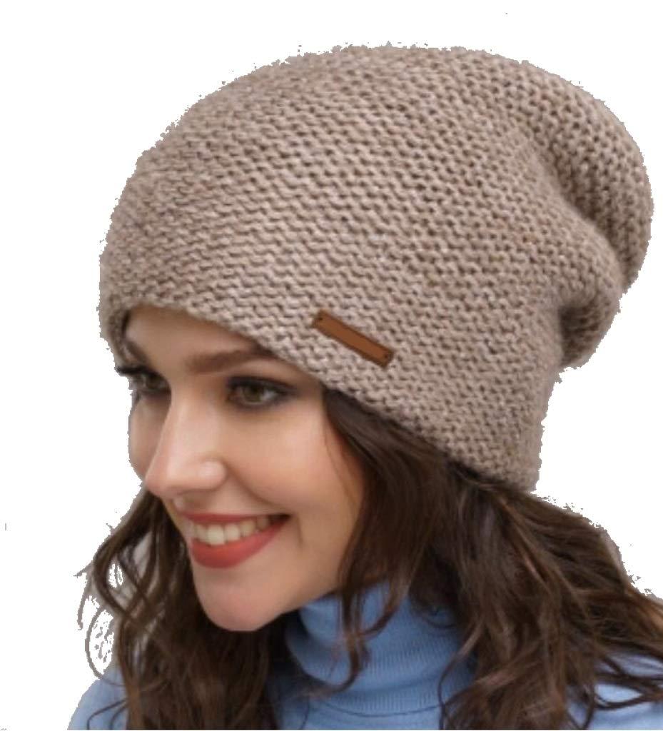 POORGA 100% Wool Knit Women's Winter Hat