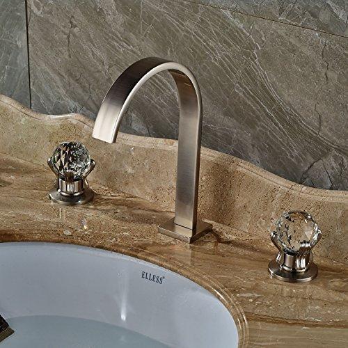 Rozin® Widespread Deck Mounted Basin Faucet Dual Crystal Handles ...