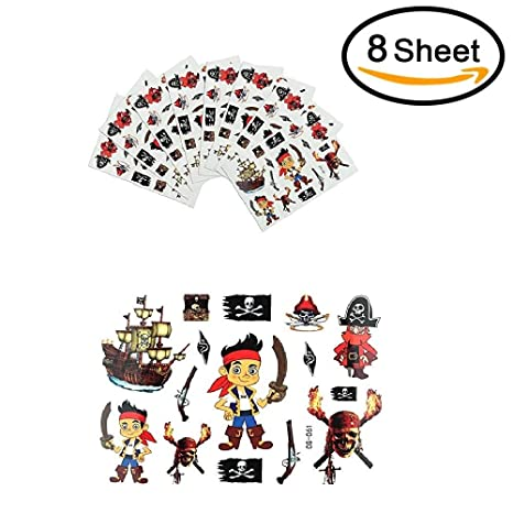SAGESSE 8 piezas pirata Tatuajes temporales para niños Tatuaje ...