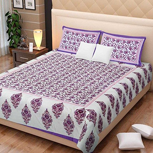 (traditional mafia Floral Vine Printed Double Bed Sheet Set with 2 Pillow Covers, King, Purple/Pink)