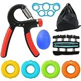 pinza de mano +Ejercitador de dedos+Camilla de dedo+Anillo de empuñadura de silicona+Bola de agarre,Kit de entrenamiento -Paquete de 8