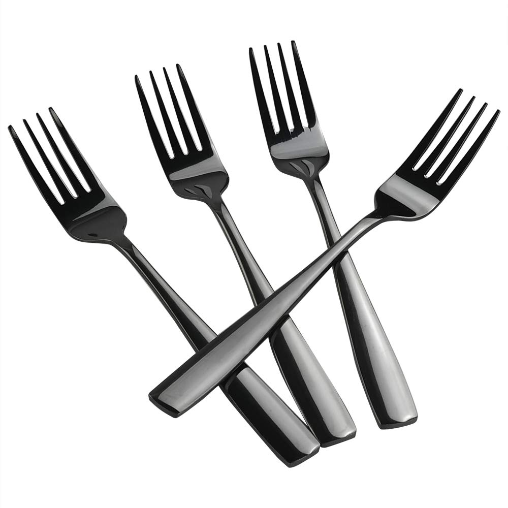 Teyyvn 16-pack Black Stainless Steel Dinner Forks, Cutlery Forks Set