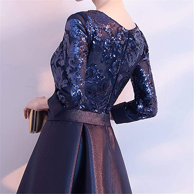 54323406a75 Drasawee Women s Elegant 2 3 Sleeves Satin Evening Dress A Line Sequined  Formal Dresses at Amazon Women s Clothing store