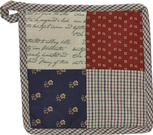 Jamestown Collection Potholder Patchwork Red Navy Gray Cream White Plaid Floral Pattern Traditional Country Home (Jamestown Cream)