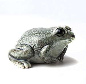 ZOOCRAFT Design Ceramic Frog Toad Figurine Gray Terrarium Garden Decor DIY Craft Porcelain Statue Collectible